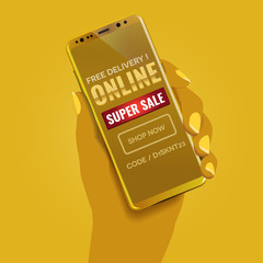 Mobile and online shopping deals and discount concept. Yellow duotone hand holding a luxury golden smartphone showing a typographic design landing page showing a call to action text.