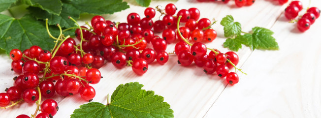 Berries of juicy red currant and leaves on a light wooden background. The pattern with copy space is flat lay