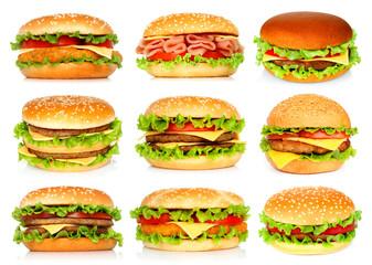 Fototapeta Big hamburgers set on white background obraz