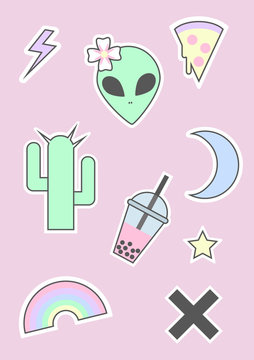 90s pastel goth alien icon set