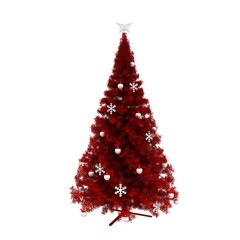 Red pine tree for happy new year with white decoration