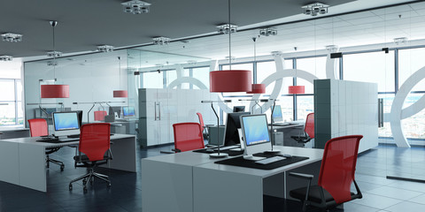 Modern corporate office red