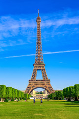 Fotomurales - Paris Eiffel Tower and Champ de Mars in Paris, France. Eiffel Tower is one of the most iconic landmarks in Paris. The Champ de Mars is a large public park in Paris