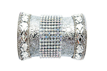 Silver armband decoration with glass gems and diamonds isolated on white background