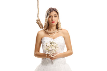 Sad bride with a rope around her neck