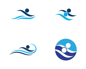 swiming Water wave icon vector