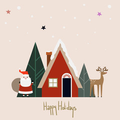 Happy Holidays Christmas vector illustration with Santa Claus and reindeer