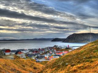 Village de Honningsvåg en automne, Norvège