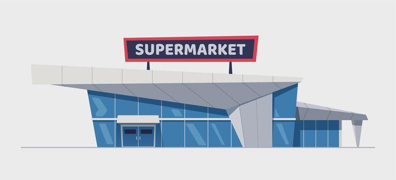 Modern supermarket building. Cartoon vector illustration