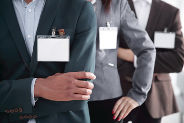 closeup.group of business people with blank badges