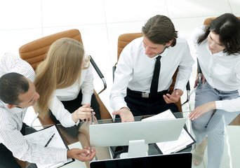 business team discussing a business document.the business concept.