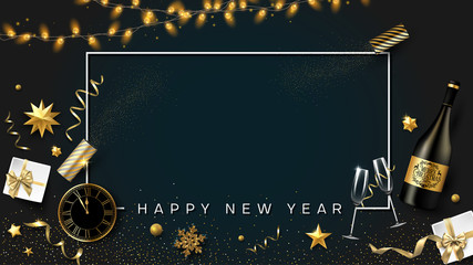 Happy New Year card with Christmas decorations, gifts, Champagne and clock.