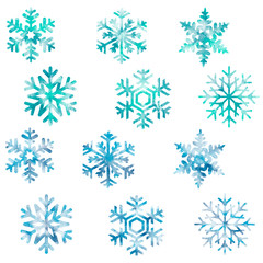 Snowflakes, snow, new year, christmas, cold, pattern, set