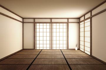 Empty room interior zen style. 3d rendering
