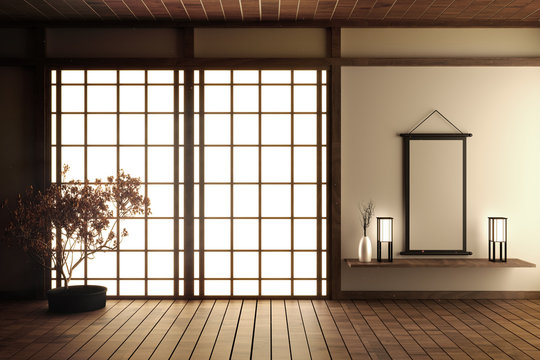 Japanese living room with wood floor and white wall with decoration Japanese style,3d rendering