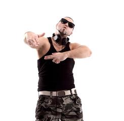stylish rap artist with black glasses.isolated on white background.