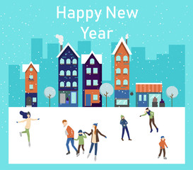 Happy New Year greeting card with people skating on the ice rink.