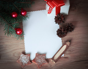 blank Christmas card and a box with gift on Christmas background