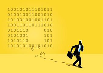 Businessman and binary code