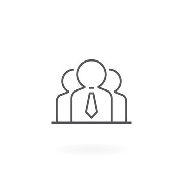 Group of people icon. Icon of people in thin line style. Teamwork symbol - Vector icon