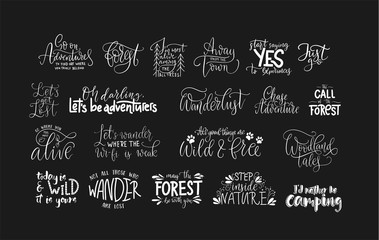 Set of adventure and travel vector quotes.
