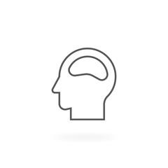 Head icon design. Human head icon or symbol design, Vector line art of human head. Thin line icon of brain process