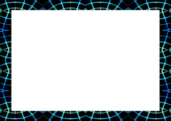 Blank Landscape Frame With Neon Lines Edges