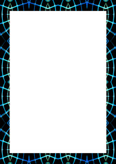 Blank Frame With Neon Lines Edges