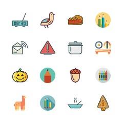 orange icon set. vector set about acorn, bird, pencil and alarm clock icons set.