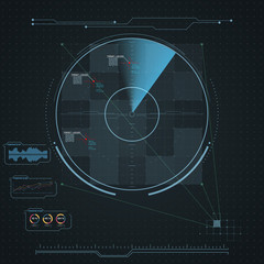 Digital radar screen. Futuristic HUD with datailed panels.