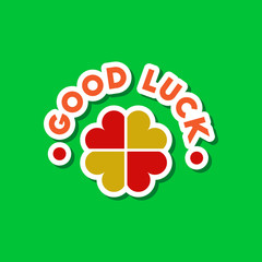 paper sticker on stylish background good luck logo