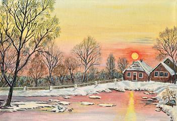 Gemälde Verschneiter See