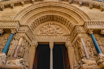 West facade of the Saint Trophime Cathedral in Arles, France.