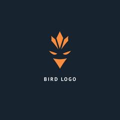 Bird silhouette logo. Vector abstract minimalistic illustration flying fowl. Eagle, falcon icon. Zoo, pet shop, farm, bird feather, wild nature vector flat style logotype modern.