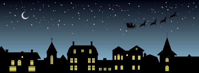 Black christmas panorama. Night city silhouette. Celebration scene. Isolated village landscape. Holidays graphic