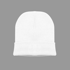 blank beanie white color on grey background isolated for mockup template
