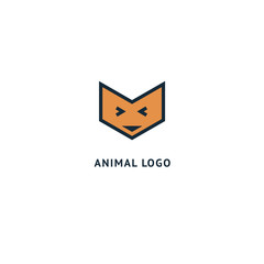 Fox silhouette logo. Vector abstract minimalistic illustration wild animal. Hunter, pet shop, zoo, clinic vector flat style logotype modern.