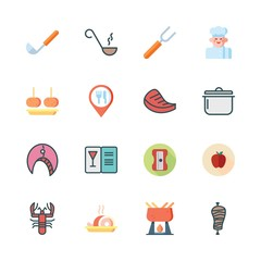 cooking icon set. vector set about menu, chef, healthy food and croquette icons set.