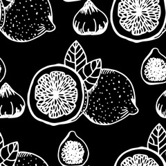 lemon, figs tropical fruits seamless pattern