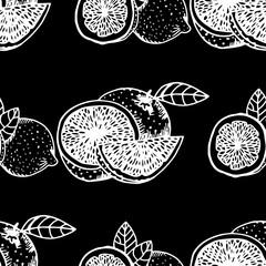 orange, lemon seamless fruit pattern
