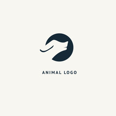 Wolf silhouette logo. Vector abstract minimalistic illustration wild animal. Hunter, pet shop, zoo, clinic vector flat style logotype modern.