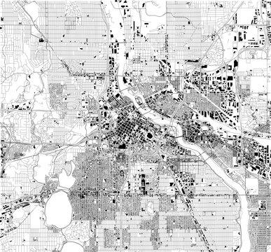 Mappa satellitare di Minneapolis, Minnesota, Usa, strade della città. Stradario e mappa del centro città.