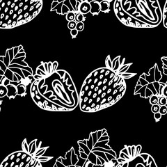 Strawberry and black currant seamless pattern berry