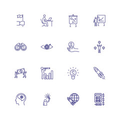 Space investigation icons. Set of line icons on white background. Rocket, science, spaceship. Can be used for topics like space, science