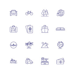 Transport and travelling icons. Set of line icons on white background. Palms, bus, passport, sea ship, ticket. Can be used for topics like trip, travelling, vacation
