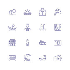 Travelling icons. Set of line icons on white background. Cruise, vacation, sea ship, hotel. Vector illustration can be used for topics like travelling, vacation