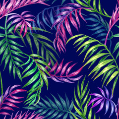 Seamless pattern of palm leaves on a dark blue background, watercolor illustration. Floral tropical print for fabric, background for various designs.