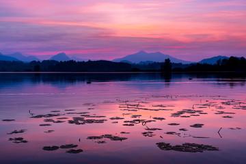 Sonnenuntergang, Hopfen am Hopfensee, Kreis Ostallgäu, Bayern, Deutschland
