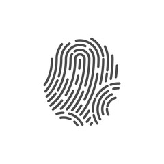 Identification symbol. Fingerprint icon. Vector illustrations. Flat design.