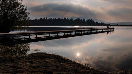 Sonnenuntergang, Steg Hopfen am Hopfensee, Kreis Ostallgäu, Bayern, Deutschland